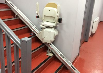 Water Proof Acorn Brooks Stairlift After Installation in Commercial Setting