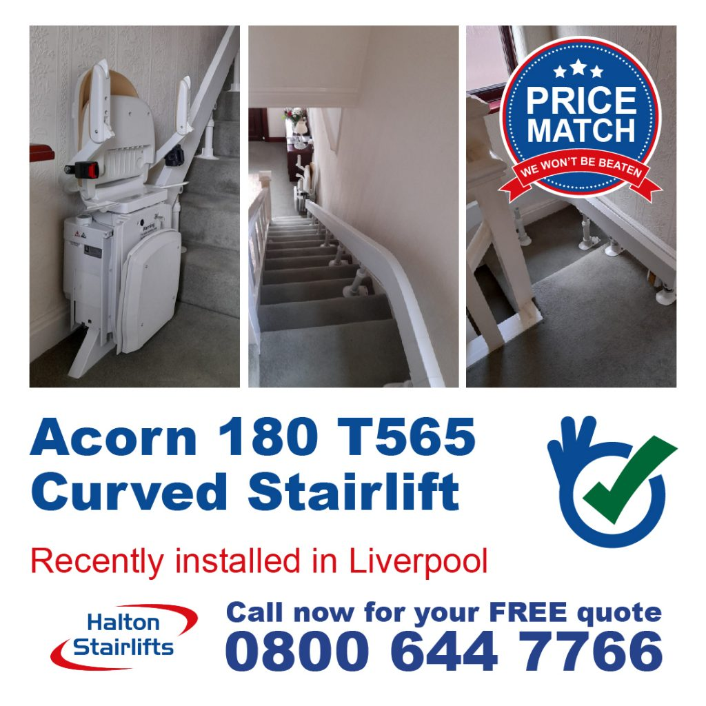 Acorn 180 T565 Curved Stair Lift For Curved Stair Cases Fully Fitted In Garston In Merseyside Liverpool