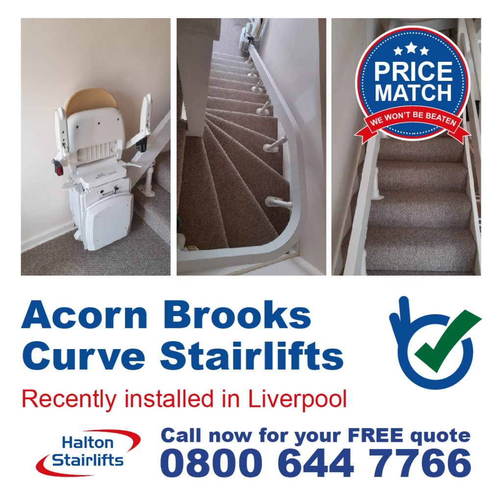 Acorn Brooks Curve Stairlifts For Curved Stair Cases Fully Installed In Liverpoo