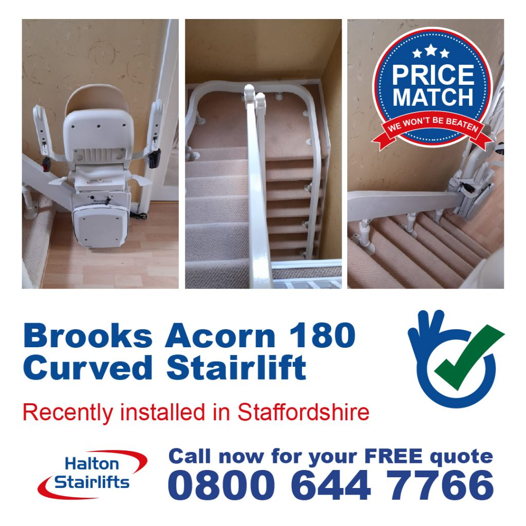 Brooks Acorn 180 Curved T565 Stairlift Manual Swivel Standard Finish Installed in Staffordshire