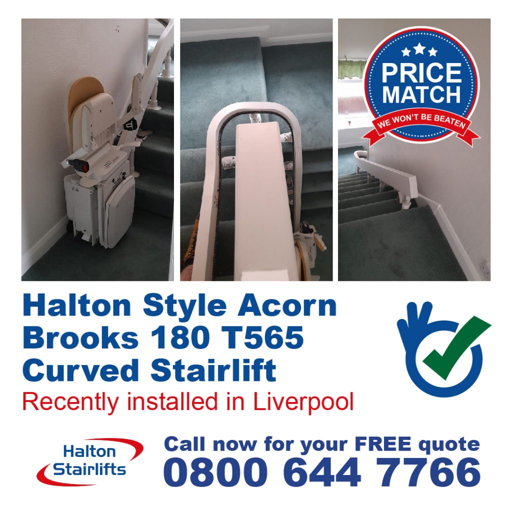 Halton Style Acorn Brooks 180 T565 Curved Chair Lift Stairlifts Internal Bend Installed In Liverpool Merseyside