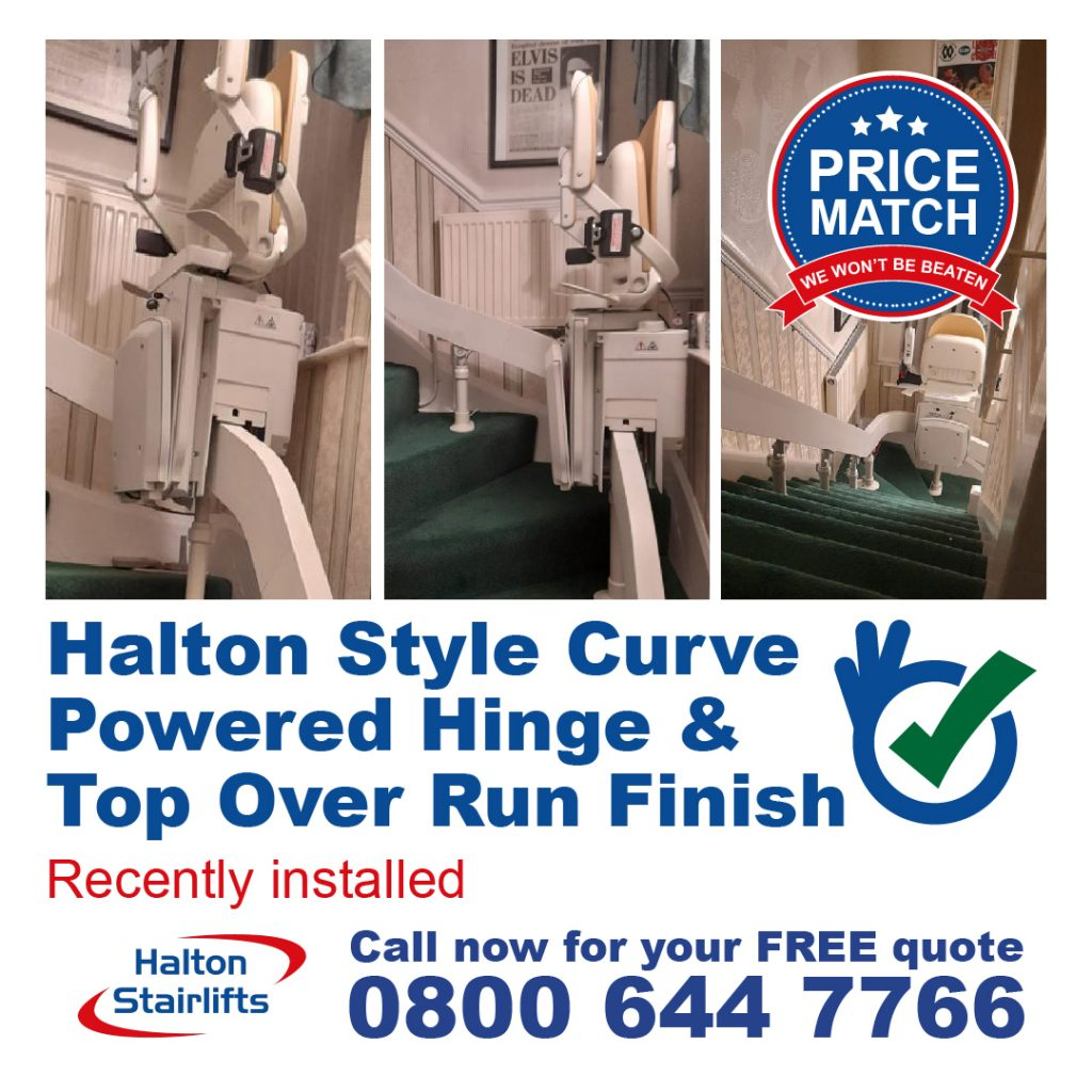 HS Style Curved with Powered Hinge and Top Over Run Finish Stairlift