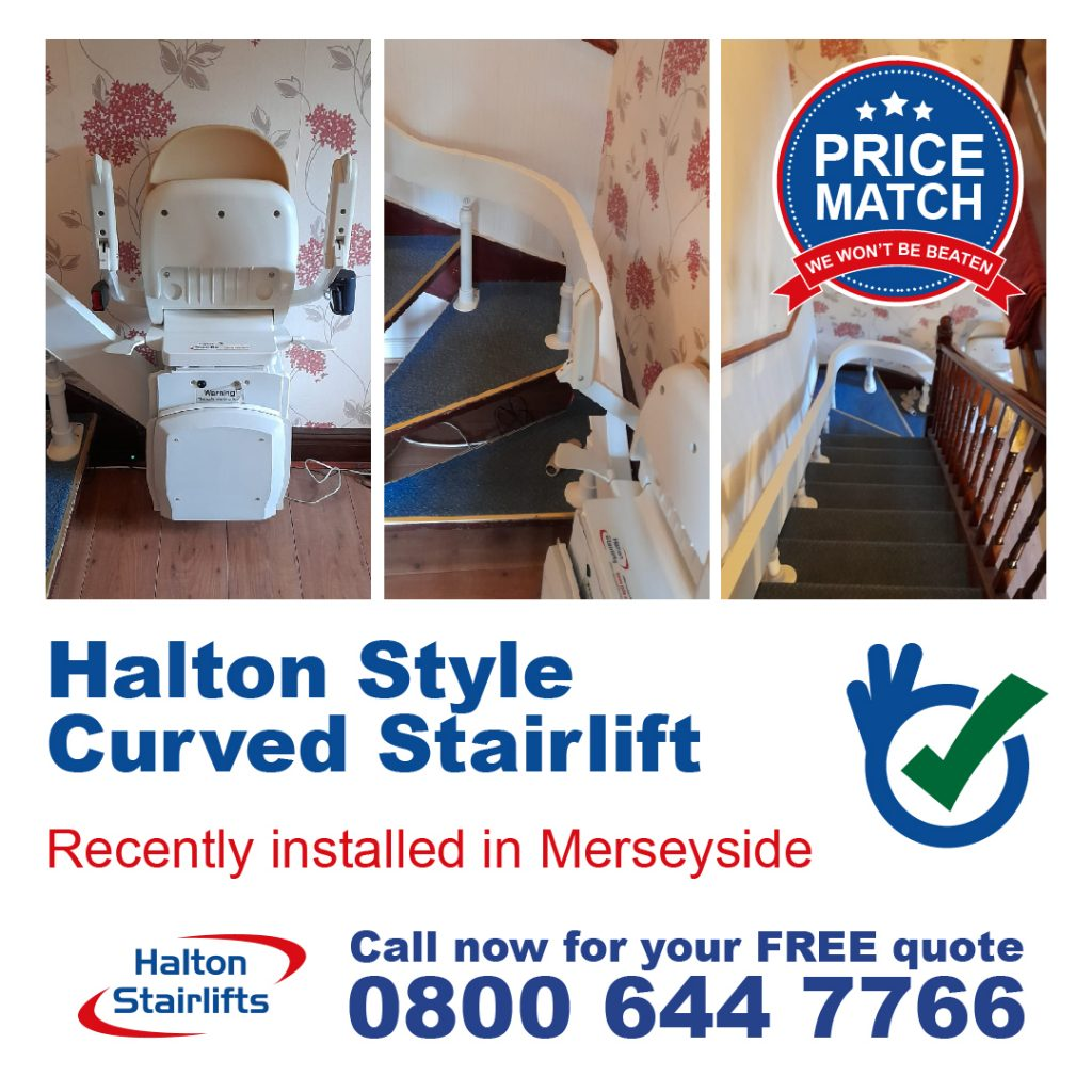 Halton Style Curved Stairlift installed in Merseyside