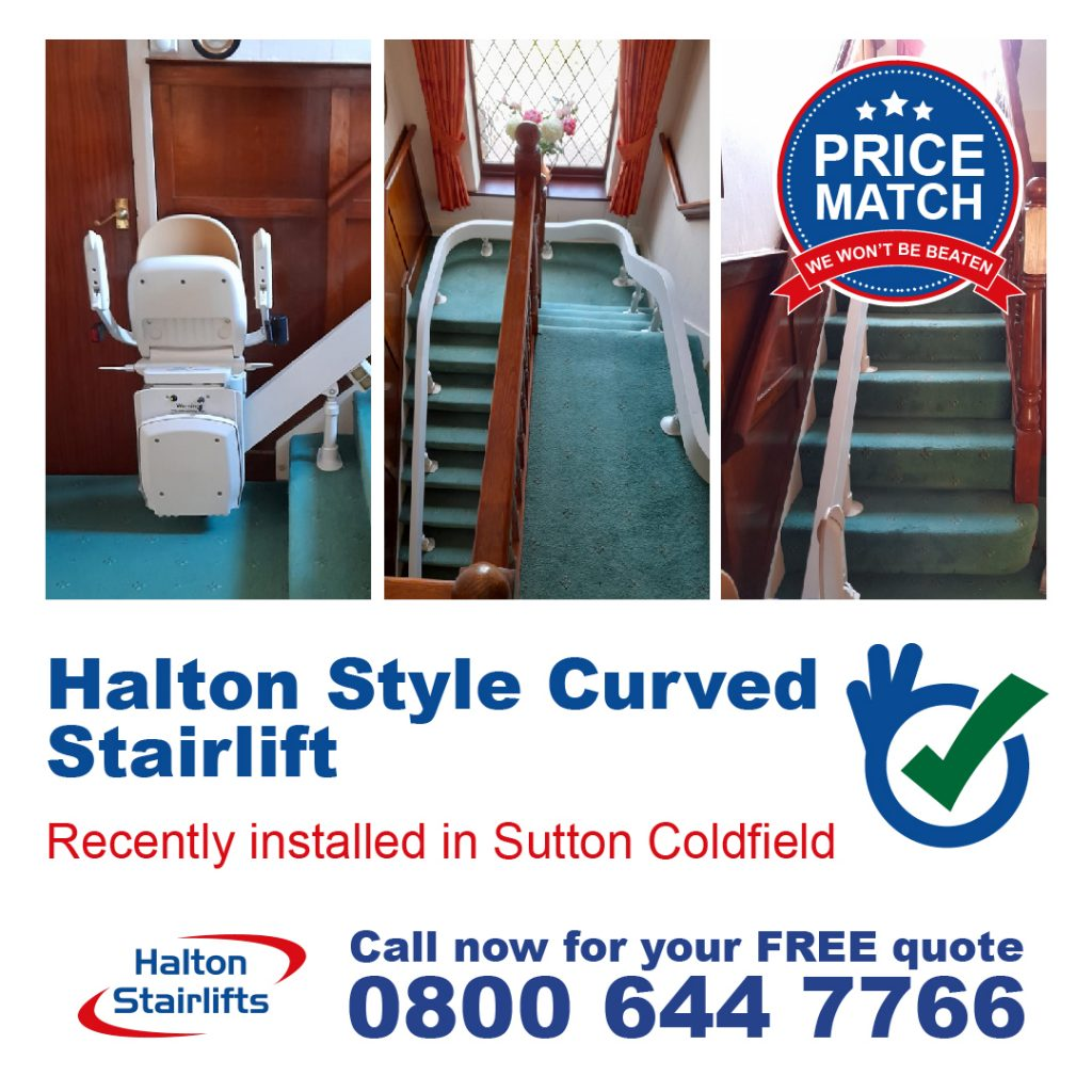 Halton Style Curved Stairlift External 180 & Top 90 Wrap Installed in Sutton Coldfield