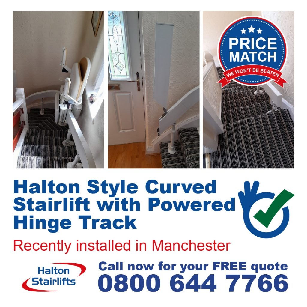Halton Style Curved Stairlift 180 T565 Powered Hinge Track Manchester