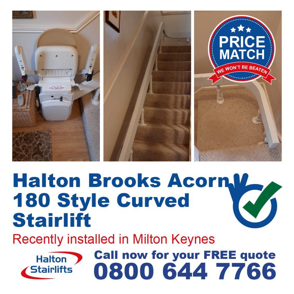 Halton Brooks Acorn 180 Style Curved Chair Lift Fully Installed In Milton Keynes