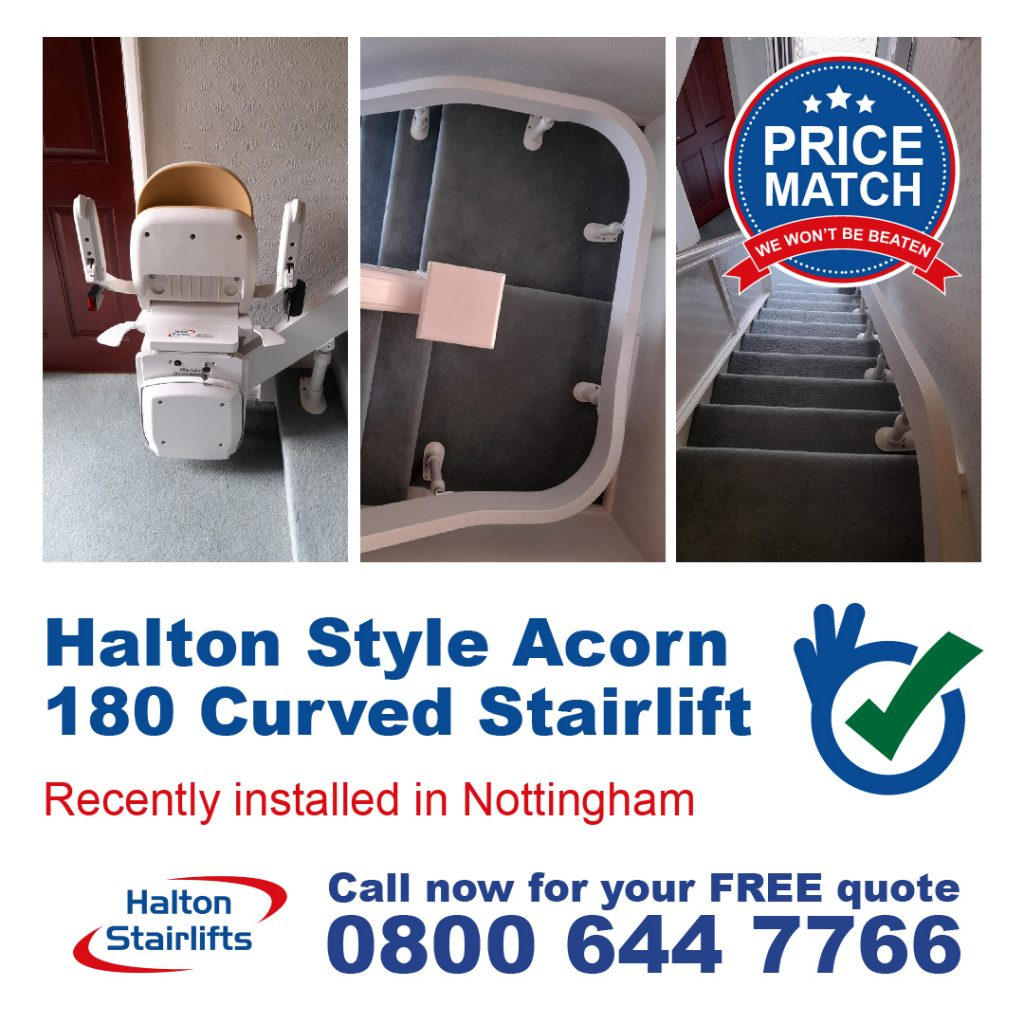 Halton Style Acorn 180 Curved Modular Stair Chairlift Fully Fitted In Nottingham
