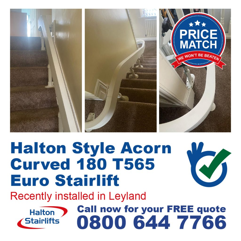 Halton Style Acorn Curved 180 T565 Euro Stairlift Both Powered Hinge Internal 180 Bend and Top 90 Wrap Finish Installed in Leyland Lancashire