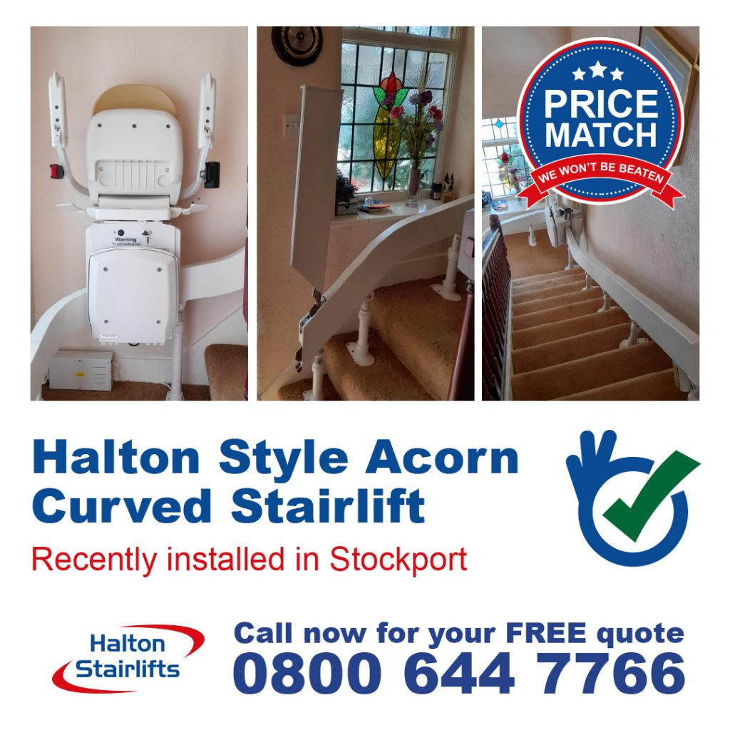 Halton Style Acorn Curved Stairlift Euro 180 Lithium Batteries Powered Hinge Rail Chair Lift Stair Lift Fully Installed In Stockport