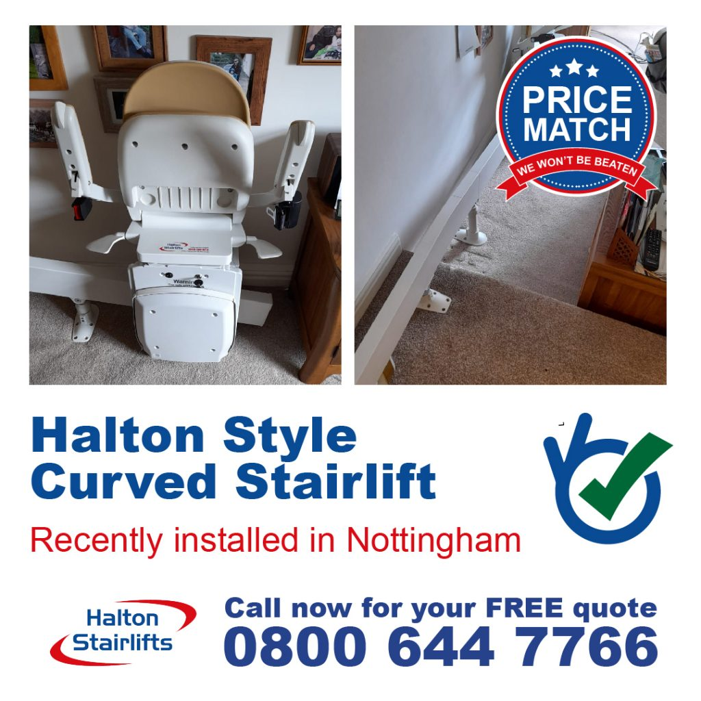 Halton Style Curved Chair Lift Stairlift One Step Lift Fully Fitted In Nottingham