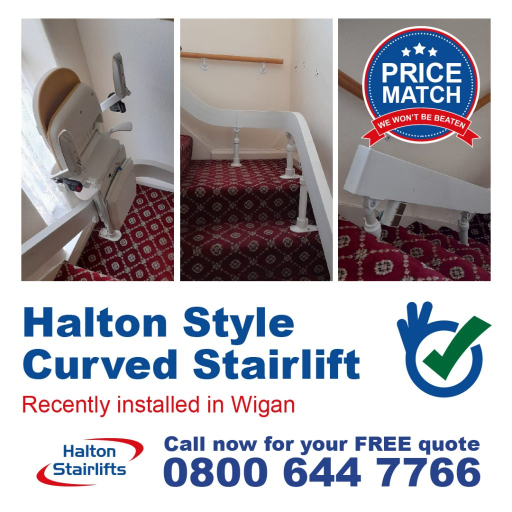 Halton Style Curved Chair Lift Stairlifts Powered Hinge Folding Track Fully Installed Wigan